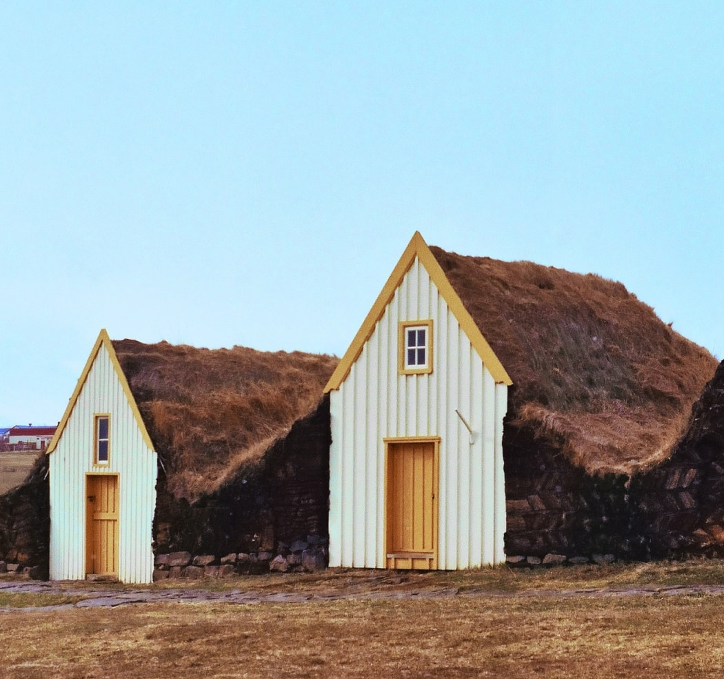 traditional cabins in iceland's landscape